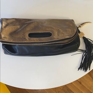 Vince Camuto gold python leather clutch